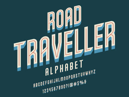 Retro style alphabet design with uppercase, number and symbols