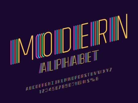 Colorful stylized modern alphabet design with uppercase, numbers and symbols