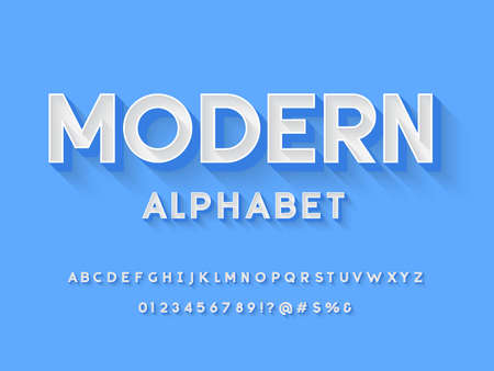 Vector of stylized modern alphabet design with uppercase, numbers and symbols
