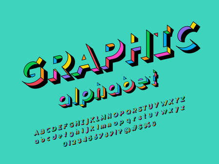 Colorful stylized alphabet design with uppercase, lowercase, numbers and symbols Иллюстрация