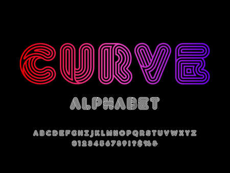 Colorful trendy style alphabet design with uppercase, numbers and symbols