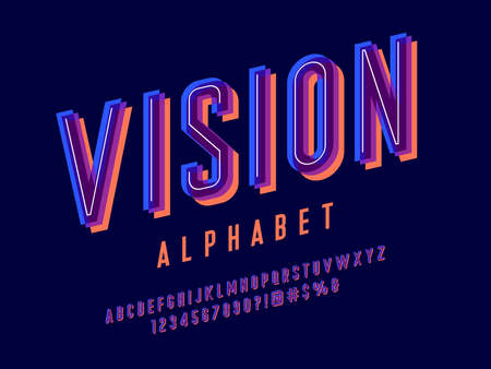 Overprint colors alphabet design with uppercase, numbers and symbols Иллюстрация