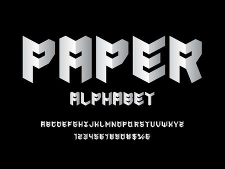 Paper folded style alphabet design with uppercase, numbers and symbols