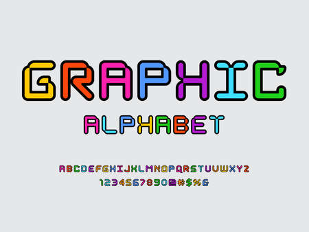 Colorful stylized alphabet design with uppercase, numbers and symbols Иллюстрация