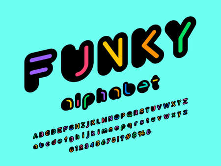 Colorful abstract style alphabet design with uppercase, number and symbols