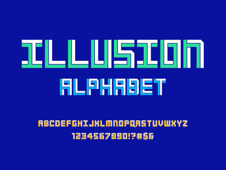 Optical illusion style alphabet design with uppercase, numbers and symbols Иллюстрация