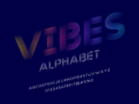 Line style alphabet design with uppercase, numbers and symbol Иллюстрация