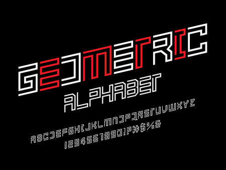 Vector of modern abstract alphabet design with uppercase, numbers and symbols
