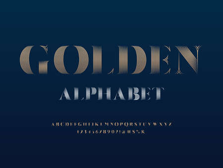 Vector of stylized modern elegant alphabet design with uppercase, numbers and symbols
