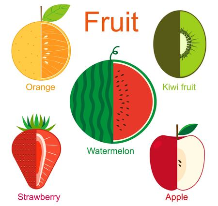 Fresh and healthy fruits. 일러스트