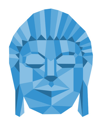 buddha head: A blue geometric Buddha head