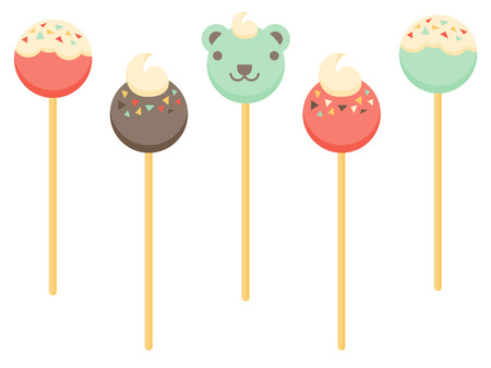 cake balls: Various cake pop designs including a teddy bear cake pop