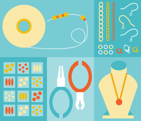 jewelry chain: Jewelry making tools of the trade  Illustration