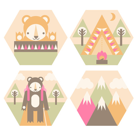 A set of camping badges including the mountains, a tent, a sleeping bag, and hiking  Vector