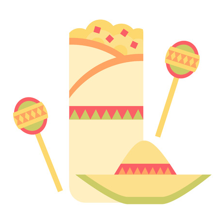 burrito: A breakfast burrito with Mexican elements including a sombrero and a pair of maracas  Illustration