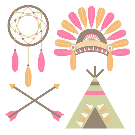 A set of American Indian illustrations including a tee-pee, headdress, arrows, and a dreamcatcher  Vector