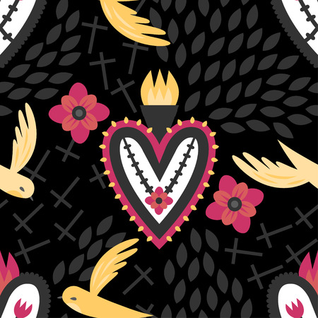 sacred heart: A gothic seamless Mexican sacred heart pattern with flying birds, crosses, and red flowers.