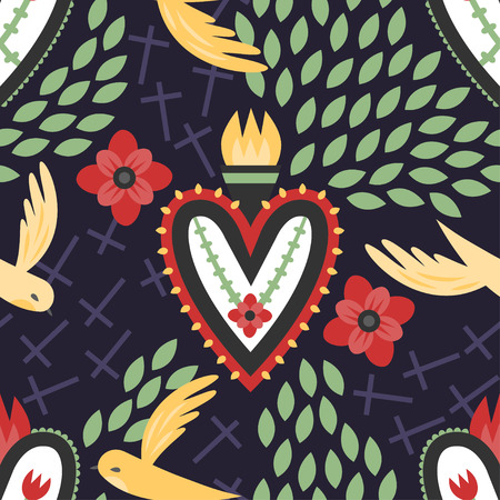 sacred heart: A colorful seamless Mexican sacred heart pattern with flying birds, crosses, and red flowers. Illustration