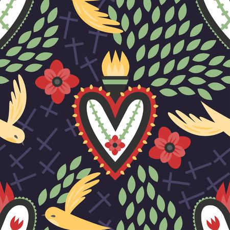 sacre coeur: Un seamless coeur coloré mexicaine sacrée avec des oiseaux volants, des croix et des fleurs rouges.