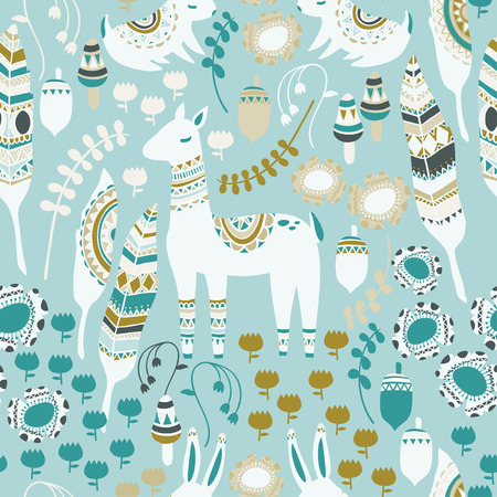 bohemian: A fun woodland pattern with deer, feathers, rabbits, mushrooms, acorns, flowers, and botanical elements. The animals and other elements have intricate tribal designs to give a bohemian feel.
