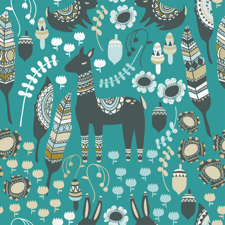 fireflies: A fun woodland pattern with deer, feathers, rabbits, mushrooms, acorns, flowers, and botanical elements. The animals and other elements have intricate tribal designs to give a bohemian feel.