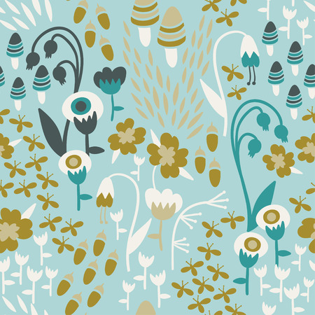fireflies: A seamless floral woodland pattern in bright colors with mushrooms, acorns, fireflies, and flowers.