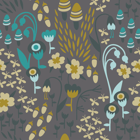 fireflies: A seamless floral woodland pattern in earthy tones with mushrooms, acorns, fireflies, and flowers.