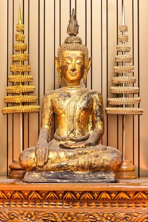 Ancient Chinese Budha in Thailand Stock Photo