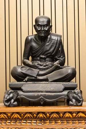 Thailand Famous Monk Black Statue