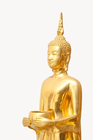 Isolated Golden Budha hold an Alms bowl