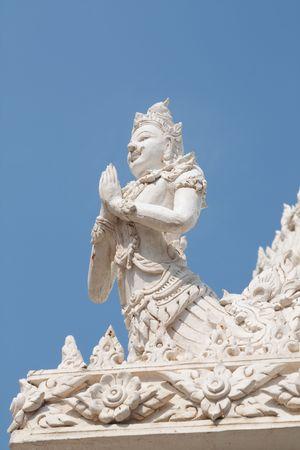 Beautiful white Thai Angel, Petchburi Thailand Stock Photo