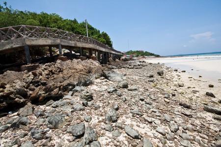 bridge rock sand and sea, koh-lan pattaya