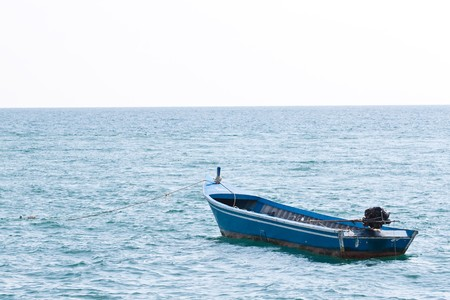 lonely boat in the ocean, pattaya sea