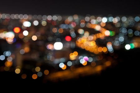 city lights: bokeh backgrond night scene, pattaya thailand Stock Photo