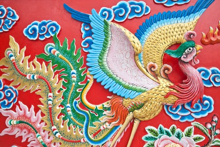 the phoenix wall in chinese temple Stock Photo