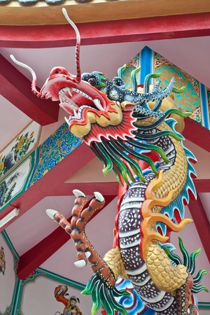 front dragon pillar in pattaya Stock Photo