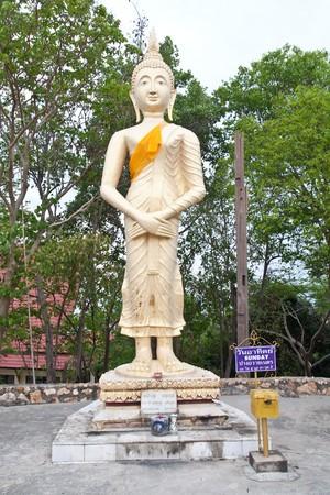 stand buddha in thai temple pattaya Stock Photo