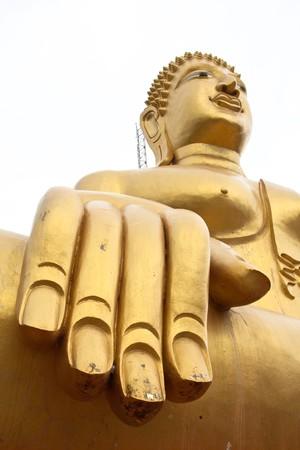 big hand big buddha in thai temple Stock Photo