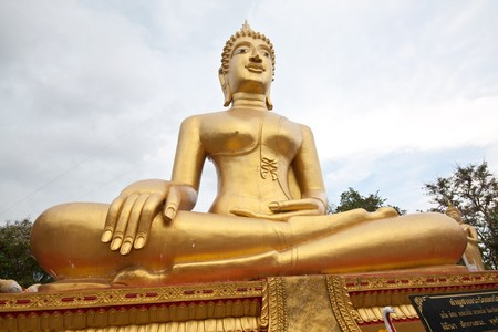full huge golden budha in thai temple Stock Photo