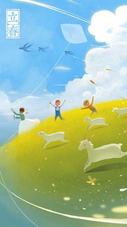principios de la primavera - los niños vuelan una cometa en el prado