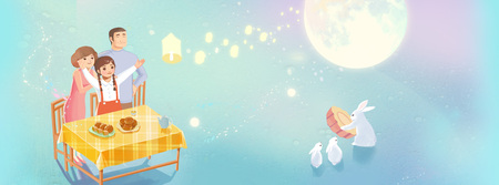 Mid-Autumn Festival-happy family enjoy the full mooon Stock Photo
