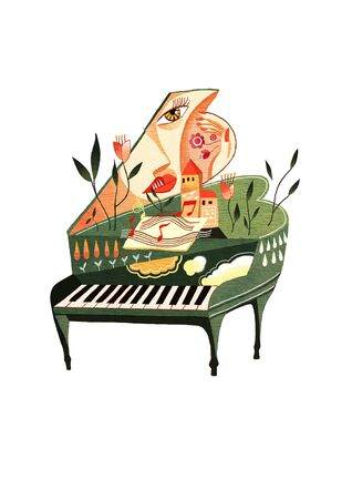 sweet lady with piano Imagens