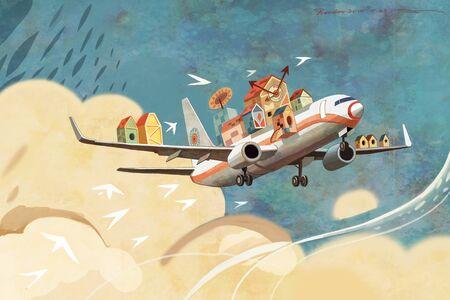 illustration of magical aircraft Stock Photo