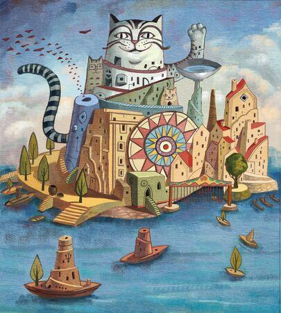 artistic conception illustration of Sea city