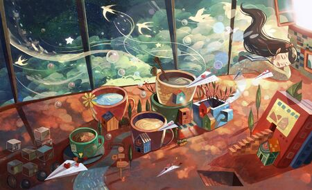 artistic conception illustration of magic dream of lunch break