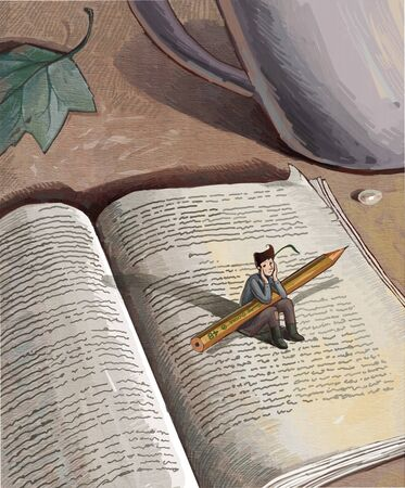 artistic conception illustration of a boy holding big pen with a book Stock Photo