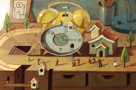 artistic conception illustration of clock on the desk