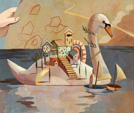 Ilustración de concepción artística del lago de los cisnes.