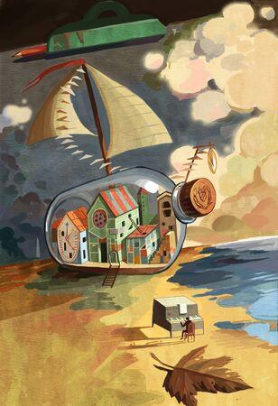 artistic conception illustration of child dream