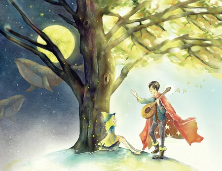artistic conception illustration of boy playing guitar to a girl under tree Standard-Bild